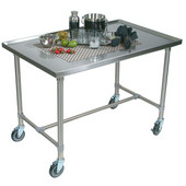 Cucina Mariner Table with Casters, 48'' W x 30'' D x 35-1/2''H, Stainless Steel