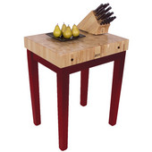 Chef Block, 30'' W x 24'' D x 36'' H, 4'' Thick, Barn Red