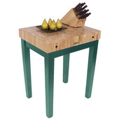 Chef Block, 30'' W x 24'' D x 36'' H, 4'' Thick, Basil Green