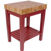 Chef Block with Shelf, 30'' W x 24'' D x 36''H, 4'' Thick, Barn Red
