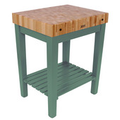 Chef Block with Shelf, 30'' W x 24'' D x 36''H, 4'' Thick, Basil Green