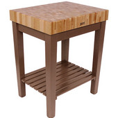 Chef Block with Shelf, 30'' W x 24'' D x 36''H, 4'' Thick, Cherry Stain