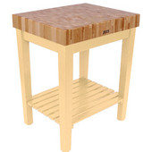 Chef Block with Shelf, 30'' W x 24'' D x 36''H, 4'' Thick, Natural Maple