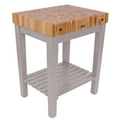 Chef Block with Shelf, 30'' W x 24'' D x 36''H, 4'' Thick, Useful Gray Stain