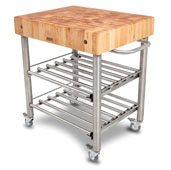 Cucina D' Amico Wine Cart with Maple Butcher Block Top, Electrical Outlet, 12 Bottle Capacity, 30'' W x 24'' D x 35-1/2'' H, Stainless Steel