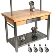 Maple Cucina Grande Kitchen Work Table with 8'' Drop Leaf & Casters, 60'' W x 36'' D x 35''H