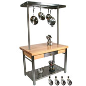 Maple Cucina Grande Kitchen Work Table with 8'' Drop Leaf, 60'' W Above Table Pot Rack, & Casters, 60'' W x 36'' D x 35''H