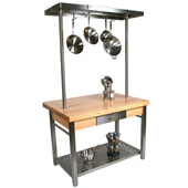 Maple Cucina Grande Kitchen Work Table with 8'' Drop Leaf & 60'' W Above Table Pot Rack, 60'' W x 36'' D x 35''H