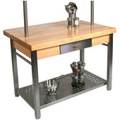 Maple Cucina Grande Kitchen Work Table with 8'' Drop Leaf, Available 48'' or 60'' W x 36'' D x 35''H
