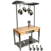 Maple Cucina Grande Kitchen Work Table, with 60'' W Above Table Pot Rack & Casters, 60'' W x 28'' D x 35''H