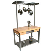 Maple Cucina Grande Kitchen Work Table with 60'' W Above Table Pot Rack, 60'' W x 28'' D x 35''H