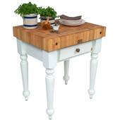 Cucina Rustica 30'' W Kitchen Island Work Table with 4'' Thick End Grain Hard Maple Top, 30'' W 24'' D, Alabaster