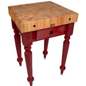 Cucina Rustica 30'' W Kitchen Island Work Table with 4'' Thick End Grain Hard Maple Top, 30'' W 24'' D, Barn Red