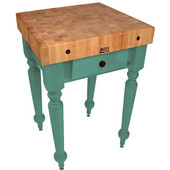 Cucina Rustica 30'' W Kitchen Island Work Table with 4'' Thick End Grain Hard Maple Top, 30'' W 24'' D, Basil