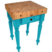 Cucina Rustica 30'' W Kitchen Island Work Table with 4'' Thick End Grain Hard Maple Top, 30'' W 24'' D, Caribbean Blue
