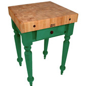 Cucina Rustica 30'' W Kitchen Island Work Table with 4'' Thick End Grain Hard Maple Top, 30'' W 24'' D, Clover Green