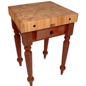 Cucina Rustica 30'' W Kitchen Island Work Table with 4'' Thick End Grain Hard Maple Top, 30'' W 24'' D, Cherry