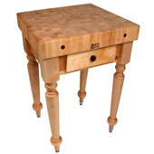 Cucina Rustica 30'' W Kitchen Island Work Table with 4'' Thick End Grain Hard Maple Top, 30'' W 24'' D, Natural Maple