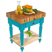 Cucina Rustica Kitchen Cart 30'' W Work Table with Bottom Shelf, 4'' Thick End Grain Hard Maple Top, 30'' W x 24'' D, Caribbean Blue