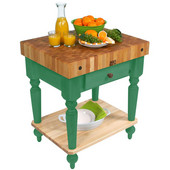 Cucina Rustica Kitchen Cart 30'' W Work Table with Bottom Shelf, 4'' Thick End Grain Hard Maple Top, 30'' W x 24'' D, Clover Green