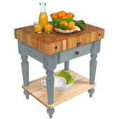 Cucina Rustica Kitchen Cart 30'' W Work Table with Bottom Shelf, 4'' Thick End Grain Hard Maple Top, 30'' W x 24'' D, Slate Gray