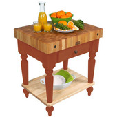 Cucina Rustica Kitchen Cart 30'' W Work Table with Bottom Shelf, 4'' Thick End Grain Hard Maple Top, 30'' W x 24'' D, Spicy Latte