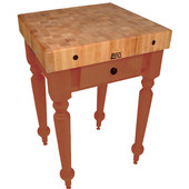 Cucina Rustica 30'' W Kitchen Island Work Table with 4'' Thick End Grain Hard Maple Top, 30'' W 24'' D, Spicy Latte