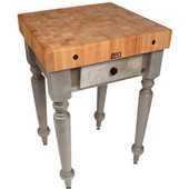 Cucina Rustica 30'' W Kitchen Island Work Table with 4'' Thick End Grain Hard Maple Top, 30'' W 24'' D, Useful Gray