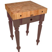 Cucina Rustica 30'' W Kitchen Island Work Table with 4'' Thick End Grain Hard Maple Top, 30'' W 24'' D, Walnut Stain