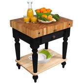 Cucina Rustica Kitchen Cart 30'' W Work Table with Bottom Shelf, 4'' Thick End Grain Hard Maple Top, 30'' W x 24'' D, Black