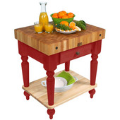Cucina Rustica Kitchen Cart 30'' W Work Table with Bottom Shelf, 4'' Thick End Grain Hard Maple Top, 30'' W x 24'' D, Barn Red