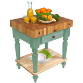 Cucina Rustica Kitchen Cart 30'' W Work Table with Bottom Shelf, 4'' Thick End Grain Hard Maple Top, 30'' W x 24'' D, Basil Green