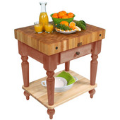 Cucina Rustica Kitchen Cart 30'' W Work Table with Bottom Shelf, 4'' Thick End Grain Hard Maple Top, 30'' W x 24'' D, Cherry Stain