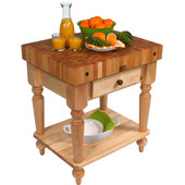 Cucina Rustica Kitchen Cart 30'' W Work Table with Bottom Shelf, 4'' Thick End Grain Hard Maple Top, 30'' W x 24'' D, Natural Maple