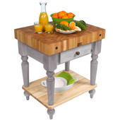 Cucina Rustica Kitchen Cart 30'' W Work Table with Bottom Shelf, 4'' Thick End Grain Hard Maple Top, 30'' W x 24'' D, Useful Gray Stain