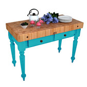 Cucina Rustica Kitchen Island 48'' W Work Table with 4'' Thick End Grain Hard Maple Top, 48'' W x 24'' D, Caribbean Blue