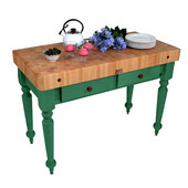 Cucina Rustica Kitchen Island 48'' W Work Table with 4'' Thick End Grain Hard Maple Top, 48'' W x 24'' D, Clover Green