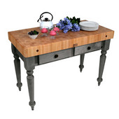 Cucina Rustica Kitchen Island 48'' W Work Table with 4'' Thick End Grain Hard Maple Top, 48'' W x 24'' D, Slate Gray