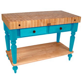 Cucina Rustica Kitchen Island 48'' W Work Table with Bottom Shelf, 4'' Thick End Grain Hard Maple Top, 48'' W x 24'' D, Caribbean Blue