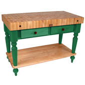 Cucina Rustica Kitchen Island 48'' W Work Table with Bottom Shelf, 4'' Thick End Grain Hard Maple Top, 48'' W x 24'' D, Clover Green