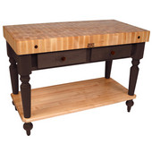 Cucina Rustica Kitchen Island 48'' W Work Table with Bottom Shelf, 4'' Thick End Grain Hard Maple Top, 48'' W x 24'' D, French Roast
