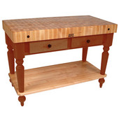 Cucina Rustica Kitchen Island 48'' W Work Table with Bottom Shelf, 4'' Thick End Grain Hard Maple Top, 48'' W x 24'' D, Spicy Latte