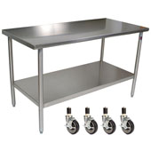 Cucina Tavalo Stainless Steel Work Table with Casters, 60'' W x 30'' D x 36''H