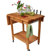 Deluxe Culi Cart Work Table, w/12in Leaf, 36'' W x 24'' D x 36''H