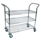 Chrome Utility Wire Bussing Cart 36'' W x 18'' D, 3-Shelves and Locking Casters with Bumpers