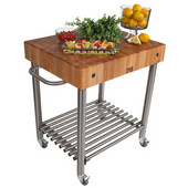 Cucina D'Amico Kitchen Cart with Stainless Steel Base, Maple End Grain Butcher Block Top and Casters, 30'' W x 24'' D x 35-1/2'' H