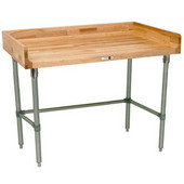 1-3/4'' Thick Maple Top Work Table w/ 4'' Backsplash & Stainless Steel Base & Bracing, Varnique Finish, Multiple Sizes Available