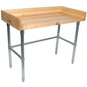 1-3/4'' Thick Maple Top Work Table w/ 4'' Backsplash & Galvanized Base, Oil Finish, Numerous Sizes Available