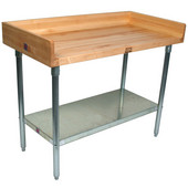1-3/4'' Thick Maple Top Work Table w/ 4'' Backsplash, Galvanized Steel Base & Shelf, Oil Finish, Various Sizes Available