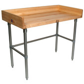1-3/4'' Thick Maple Top Work Table w/ 4'' Backsplash & Stainless Steel Base, Oil Finish, Available in Numerous Sizes